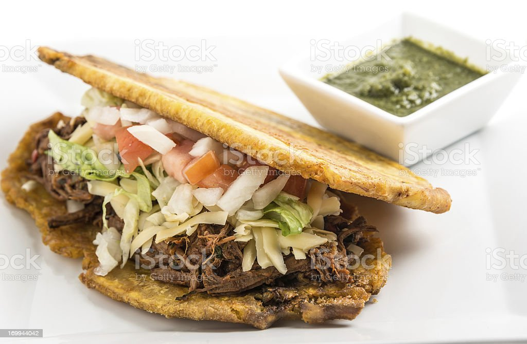 Shredded Beef Patacon royalty-free stock photo