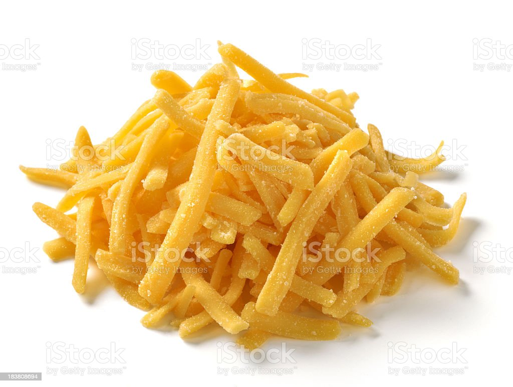 Shredded Cheese on white background stock photo