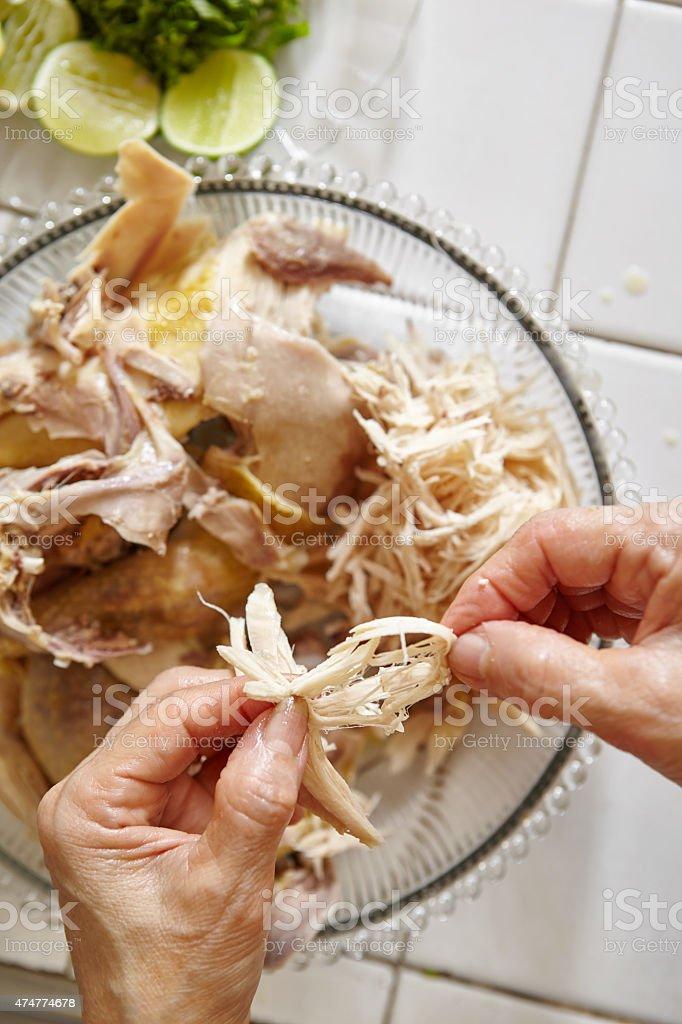 Shredded chicken stock photo