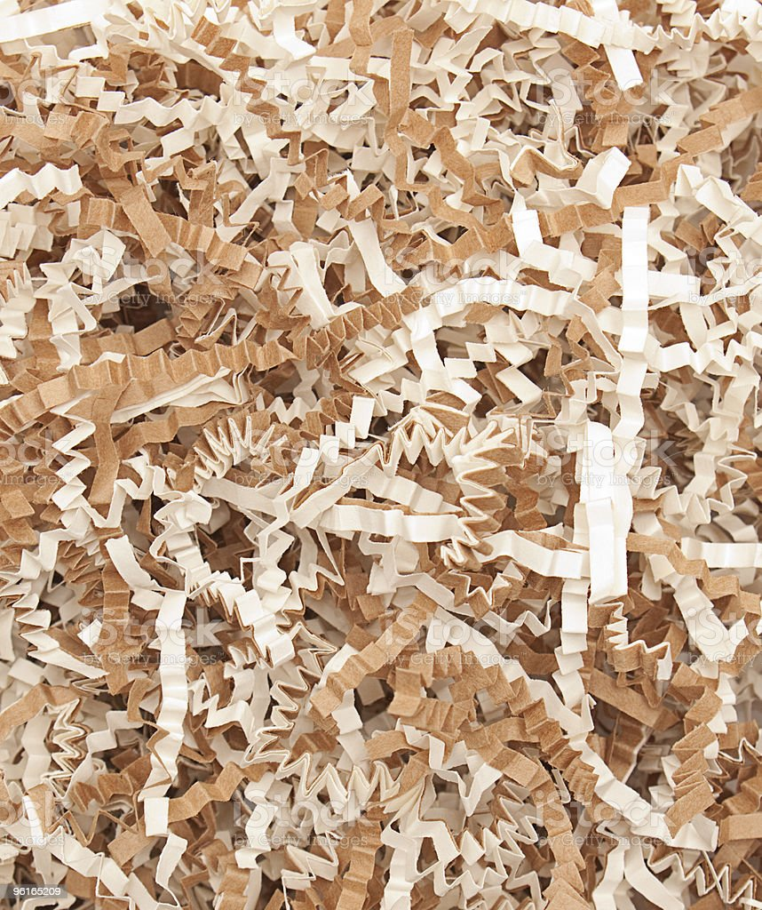 Shredded crinkled paper for recycling or packaging stock photo