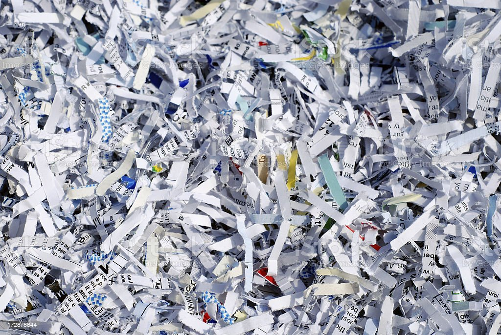 Shredded documents to protect confidential information royalty-free stock photo