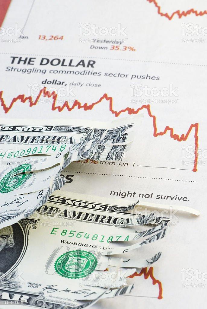 Shredded economy confidence - IX stock photo