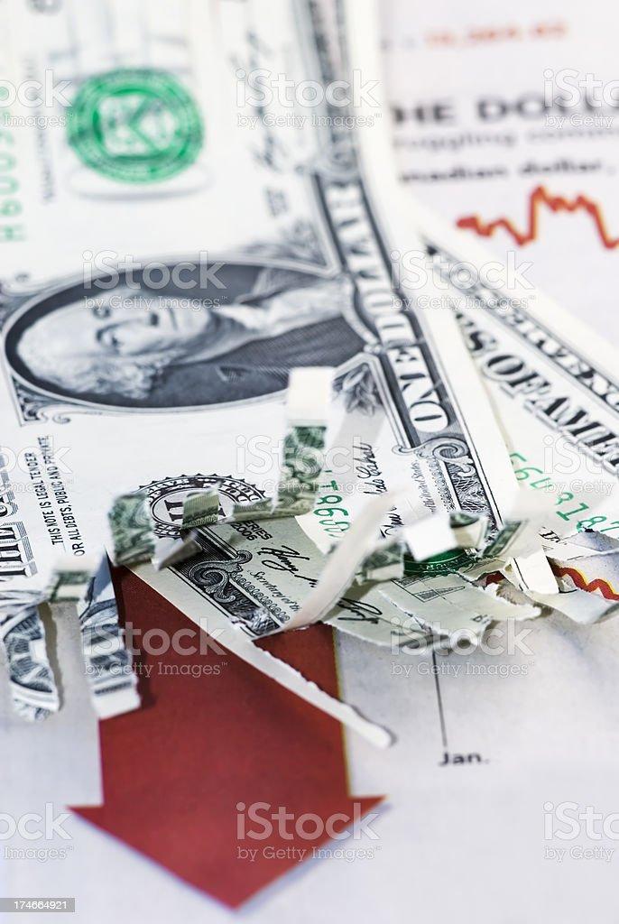 Shredded economy confidence - XIV stock photo