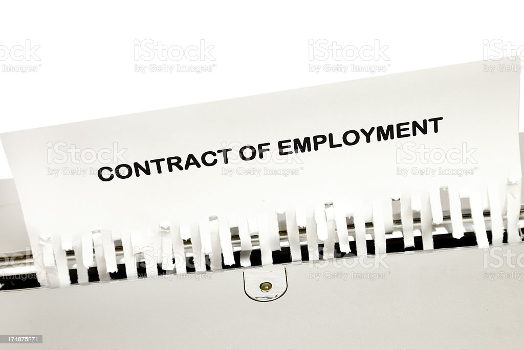 Shredded employment contract royalty-free stock photo