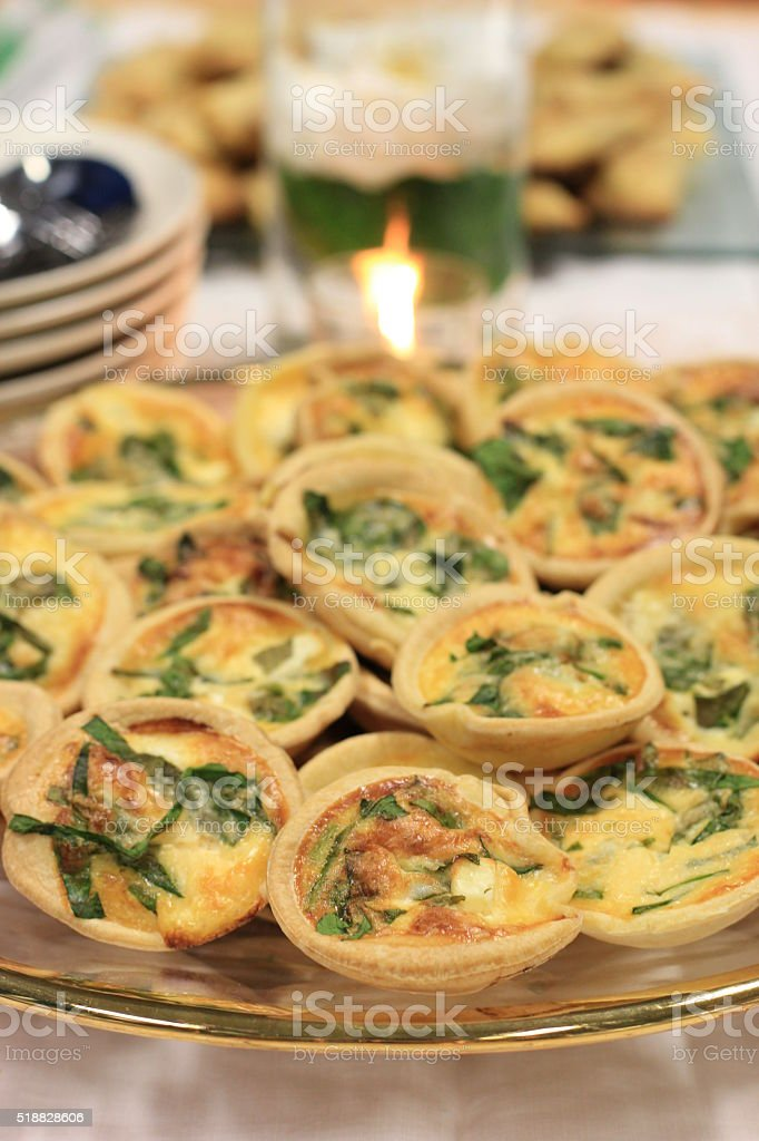 Shredded Spinach and Feta Cheese Mini Quiche stock photo