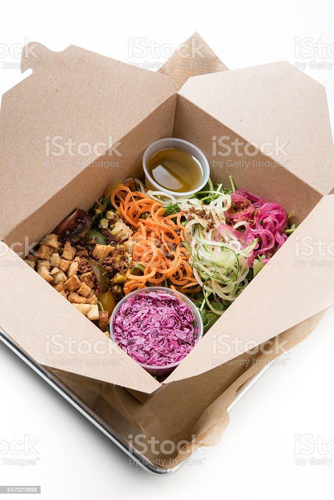 Shredded Vegetables Salad to go stock photo