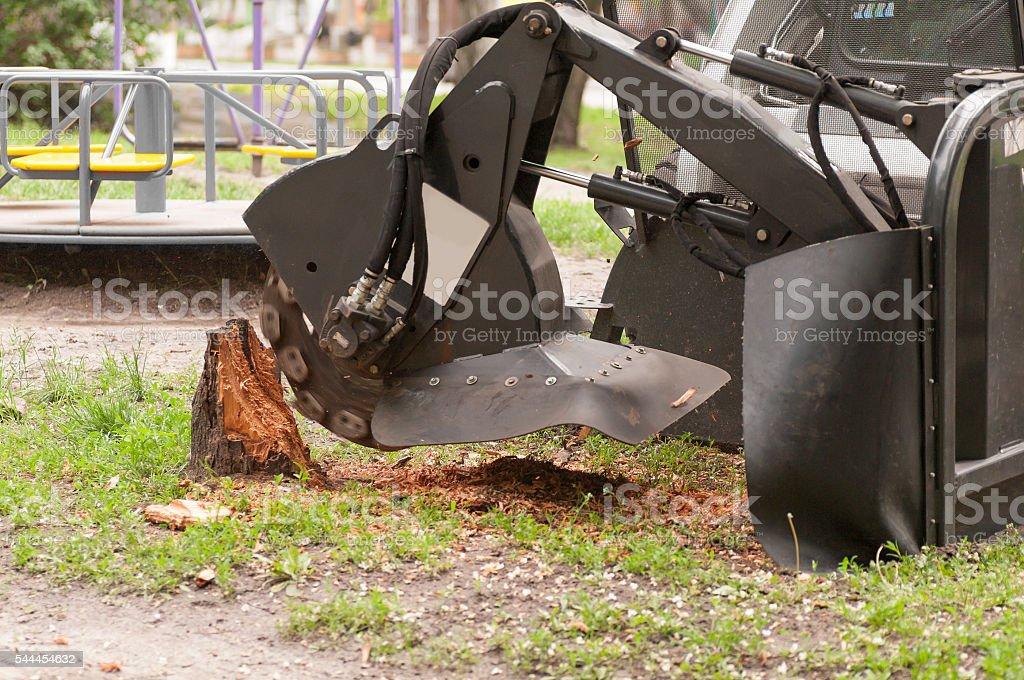 shredder for sawn wood stock photo