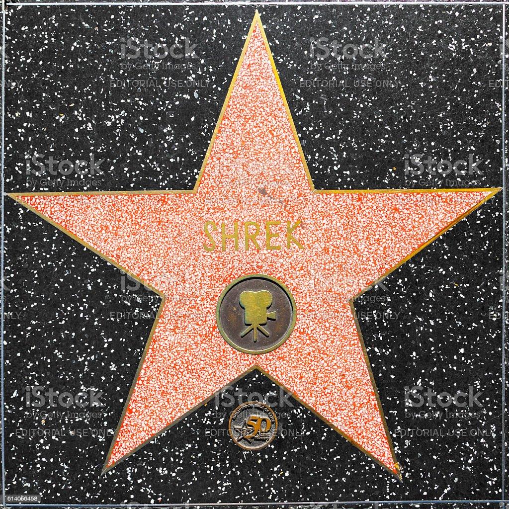 Shrek's star on Hollywood Walk of Fame stock photo