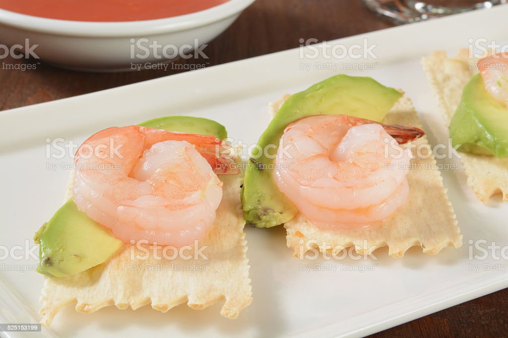 Shrimp and avocado stock photo