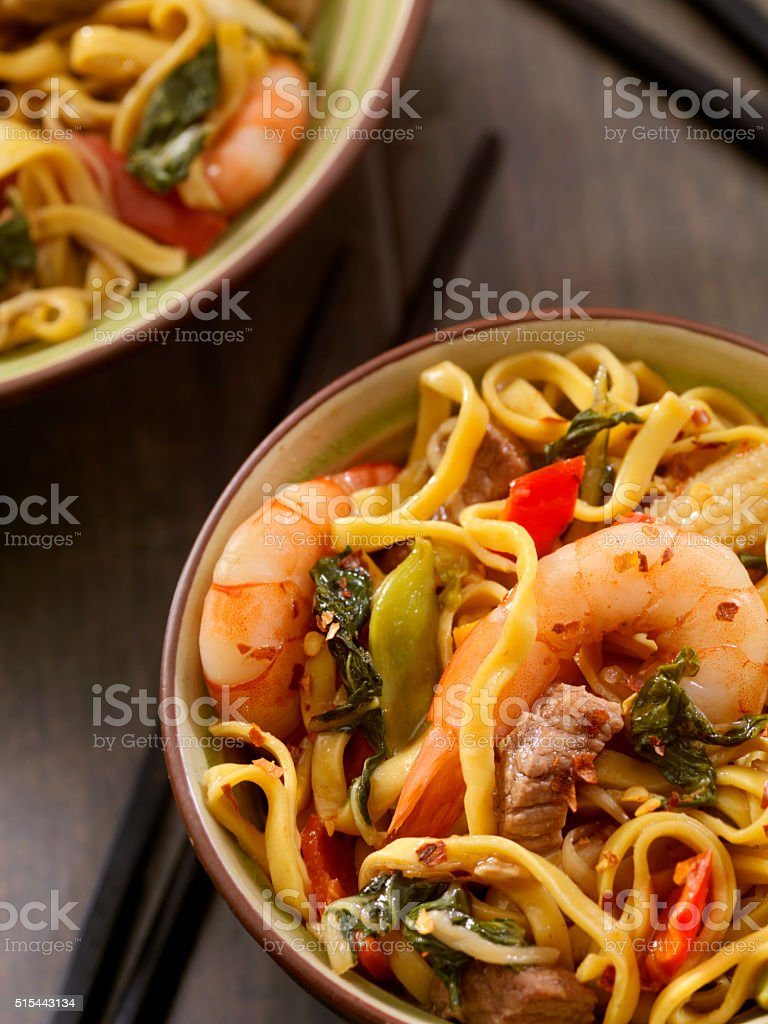 Shrimp and Beef Stir Fry with Noodles stock photo