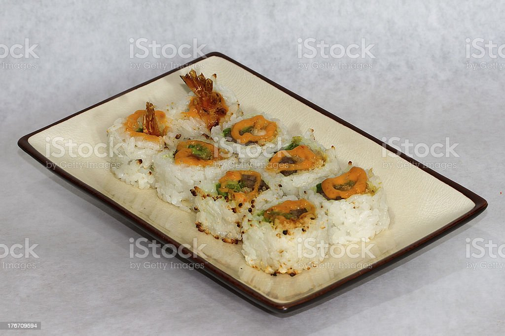 Shrimp And Beef Sushi Roll royalty-free stock photo