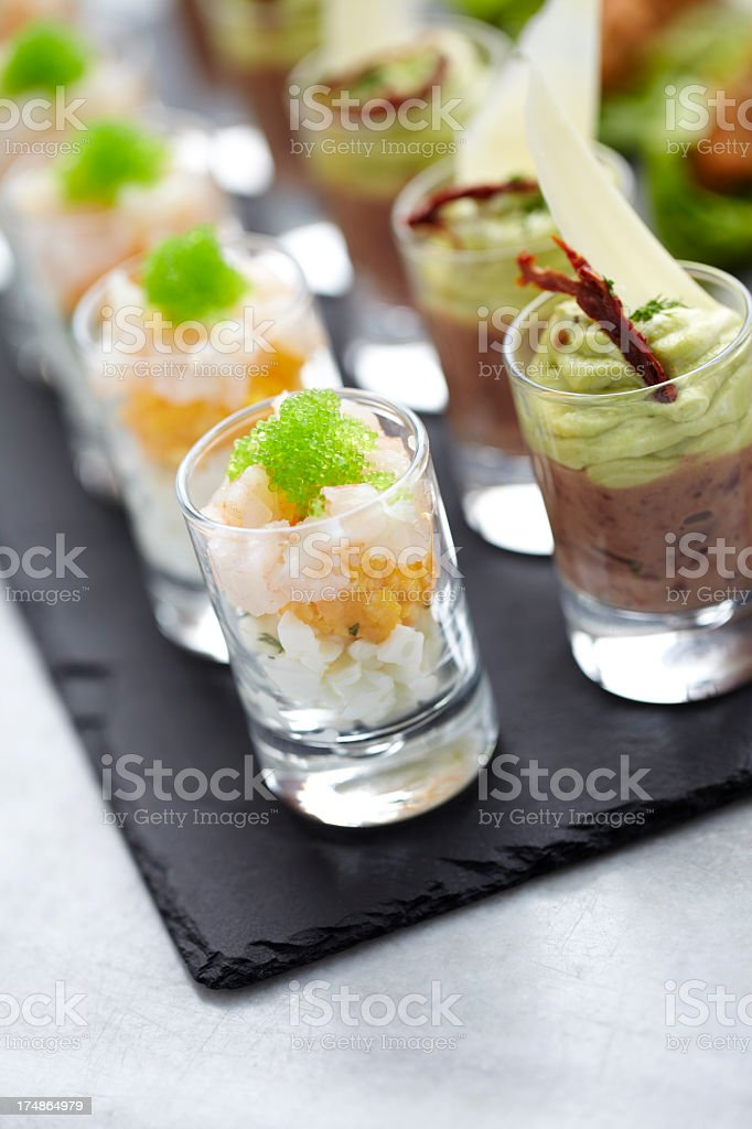 Shrimp and caviar appetizer in a glass stock photo
