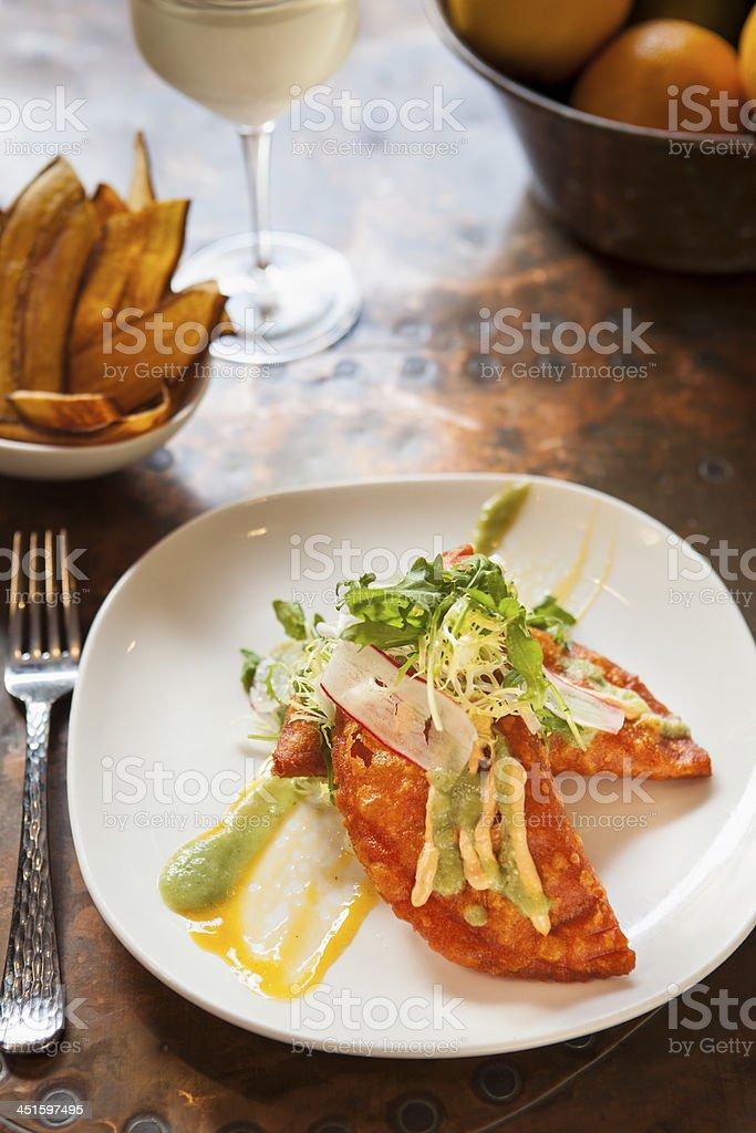 shrimp and crab empanadas stock photo