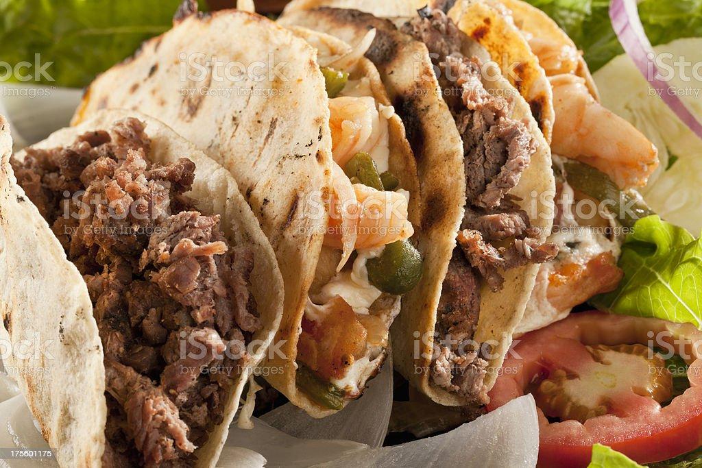 Shrimp and Fajita Tacos stock photo
