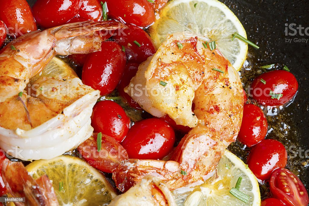 Shrimp and Grape Tomatoes royalty-free stock photo