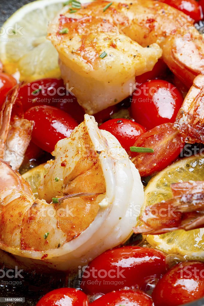 Shrimp and Grape Tomatoes royalty-free stock photo