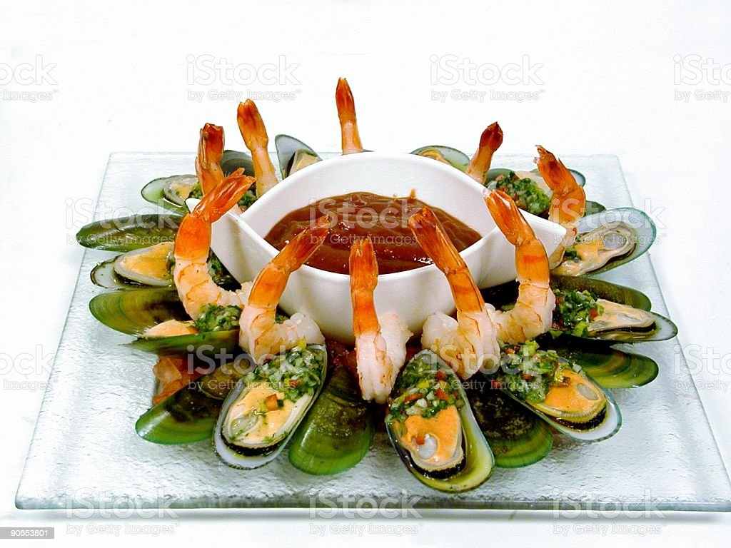 Shrimp and Green Mussels Cocktail royalty-free stock photo