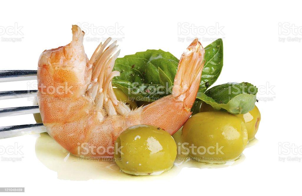 shrimp and green olives royalty-free stock photo