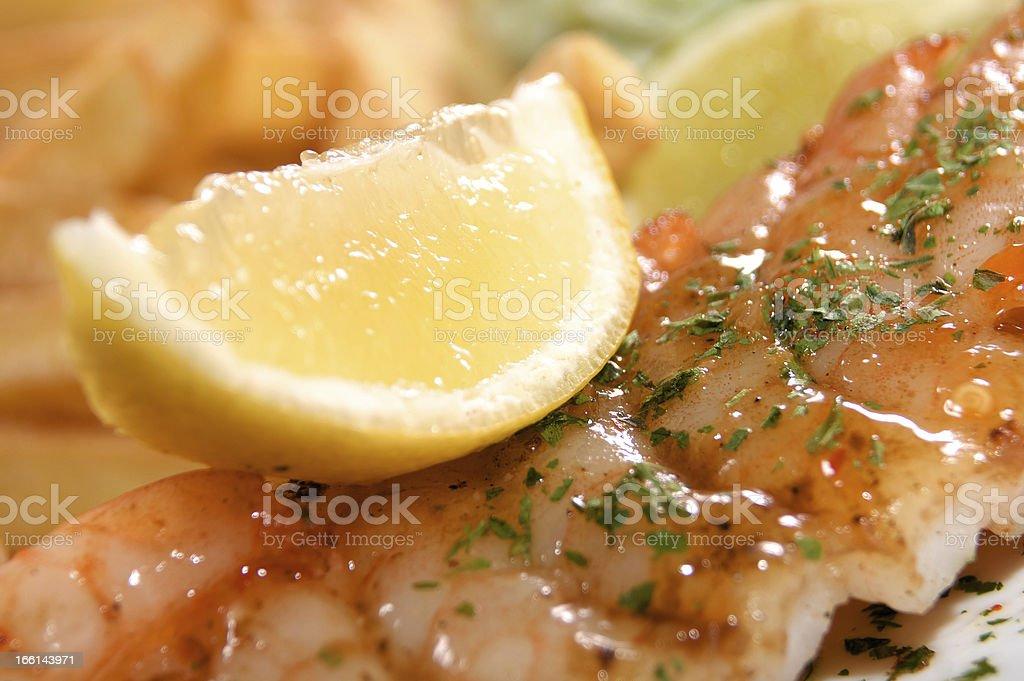 Shrimp and lemon royalty-free stock photo
