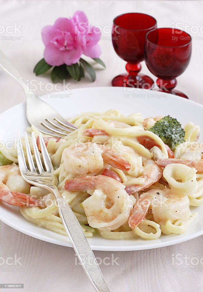 Shrimp and linguine royalty-free stock photo