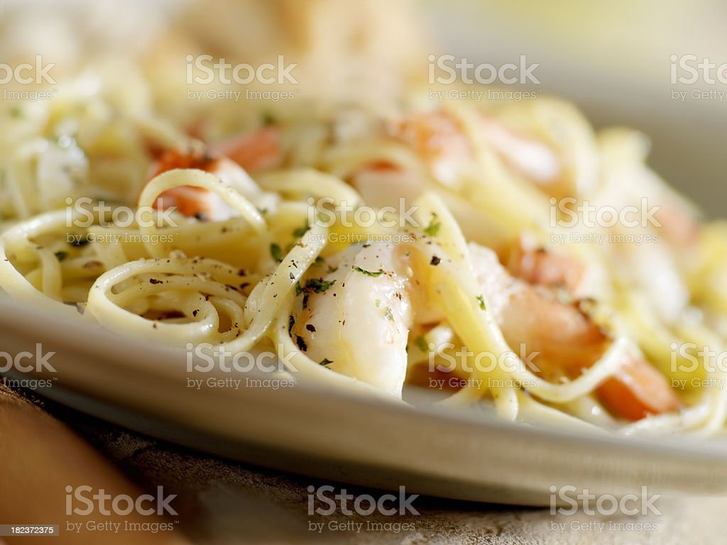 Shrimp and Lobster Linguini stock photo