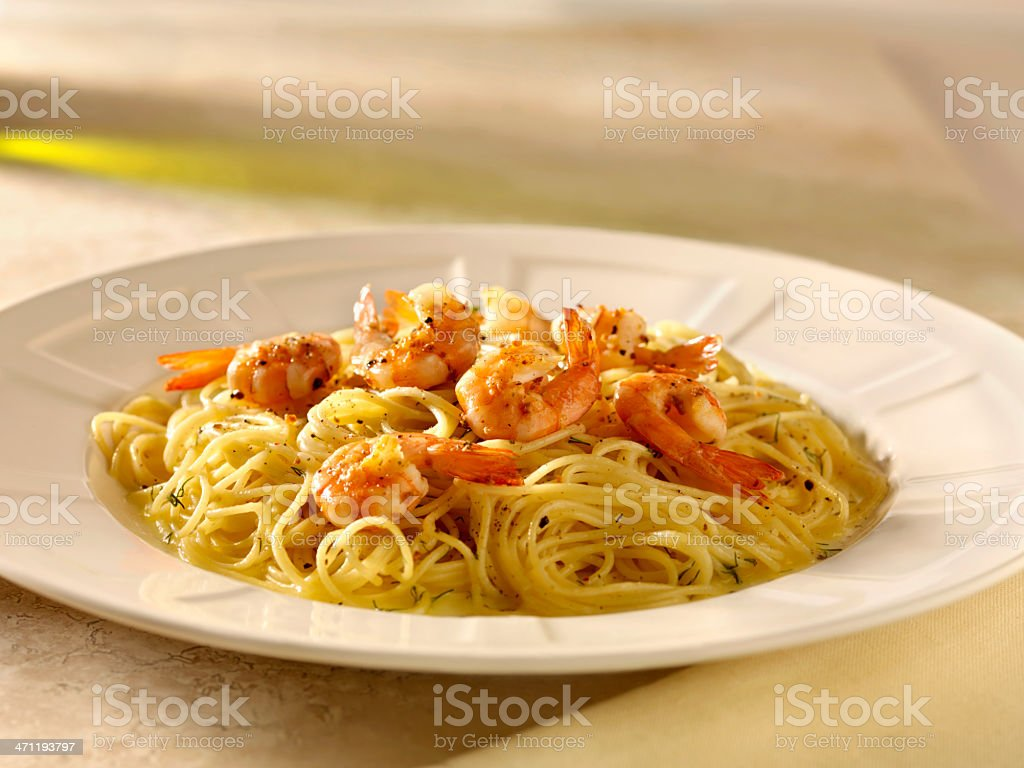 Shrimp and Pasta royalty-free stock photo