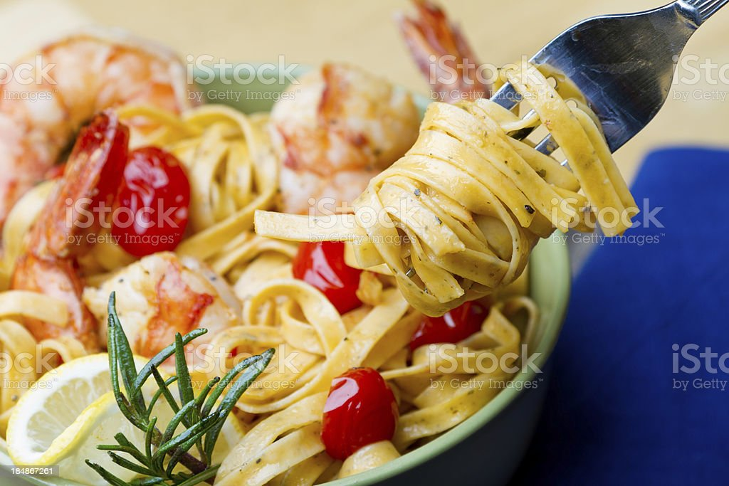 Shrimp and Pasta with Fork royalty-free stock photo