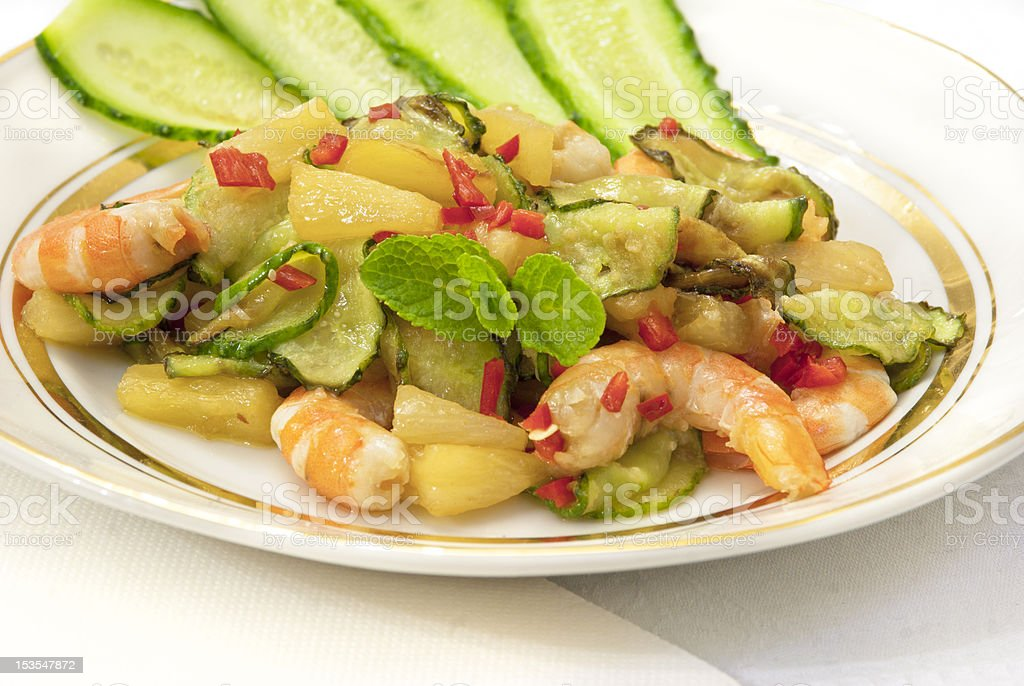 Shrimp and pineapple salad royalty-free stock photo