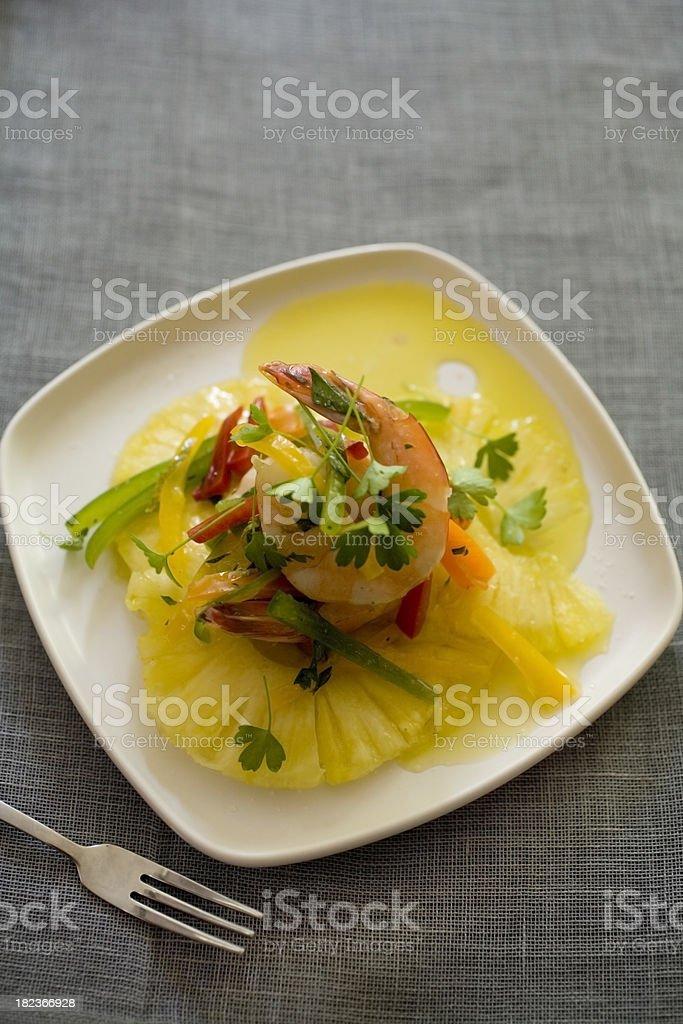 Shrimp and pineapple salad stock photo
