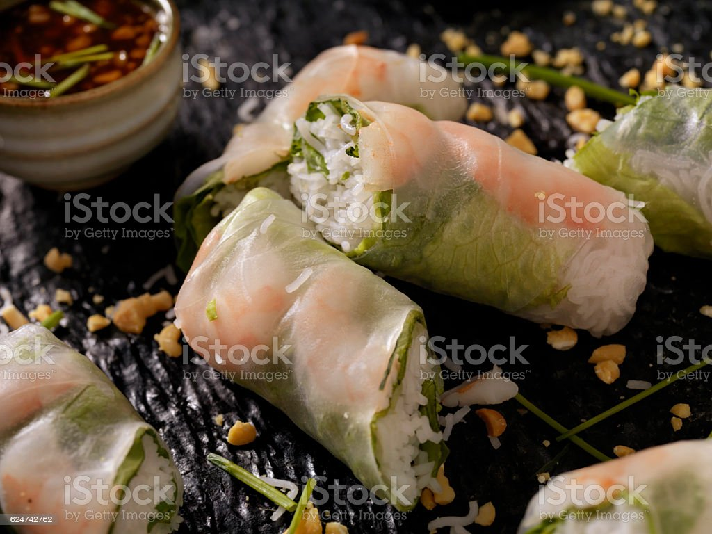 Shrimp and Rice Noodle Salad Rolls stock photo