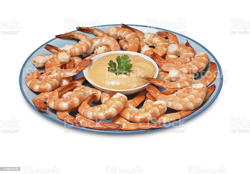 Shrimp and sauce stock photo