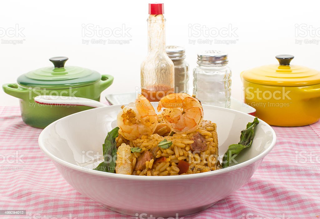 Shrimp and Sausage Jambalaya stock photo