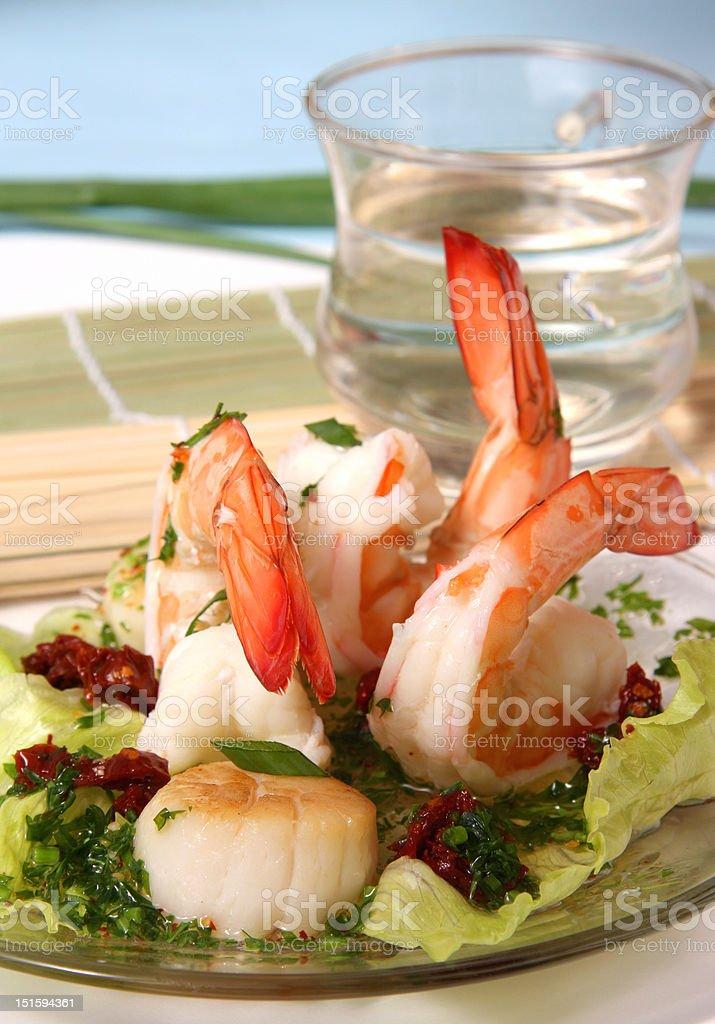 Shrimp and scallop salad stock photo
