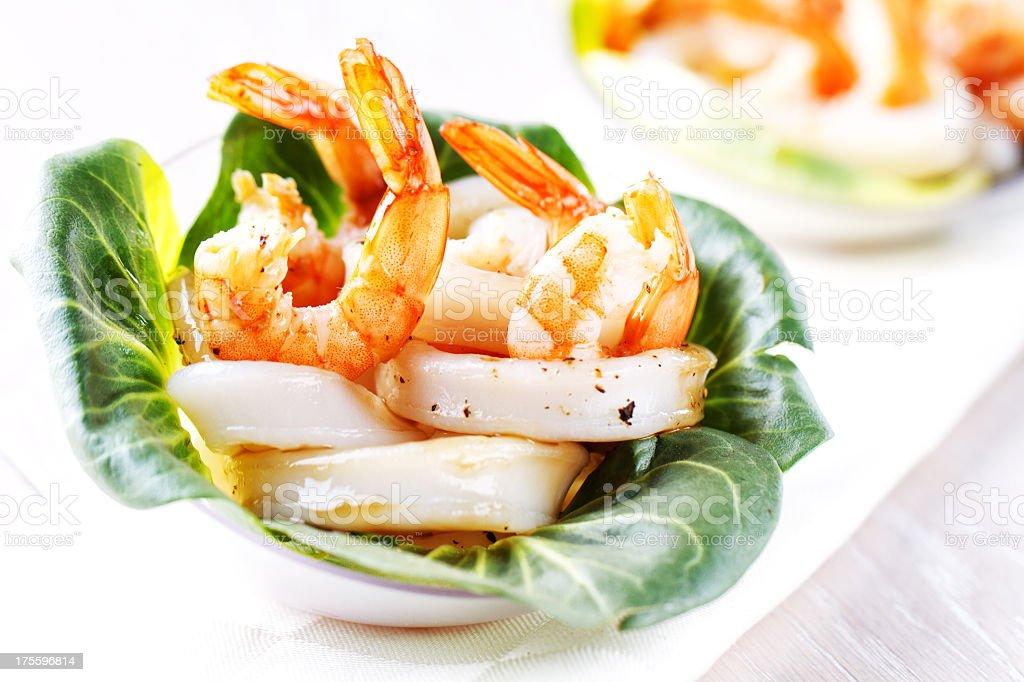 Shrimp and squid salad royalty-free stock photo