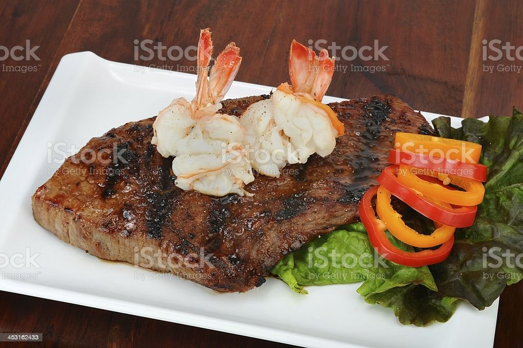 Shrimp and Steak. royalty-free stock photo