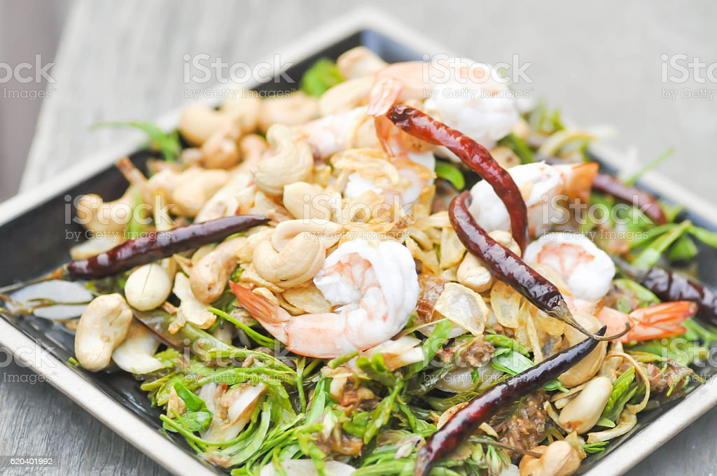 shrimp and vegetable salad ,spicy salad in Thai food stock photo