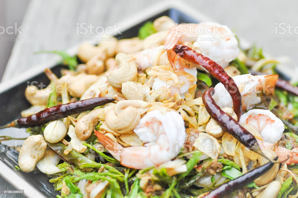 shrimp and vegetable salad,spicy salad in Thaifood stock photo