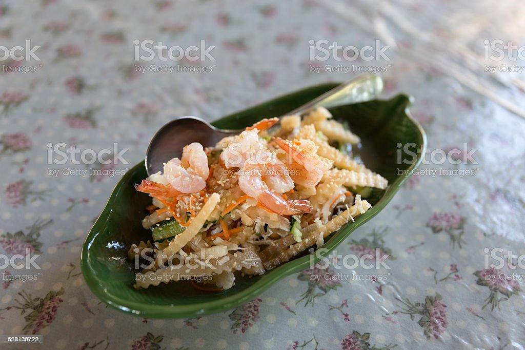 shrimp and yacon salad stock photo