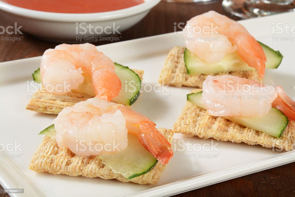 shrimp appetizers stock photo