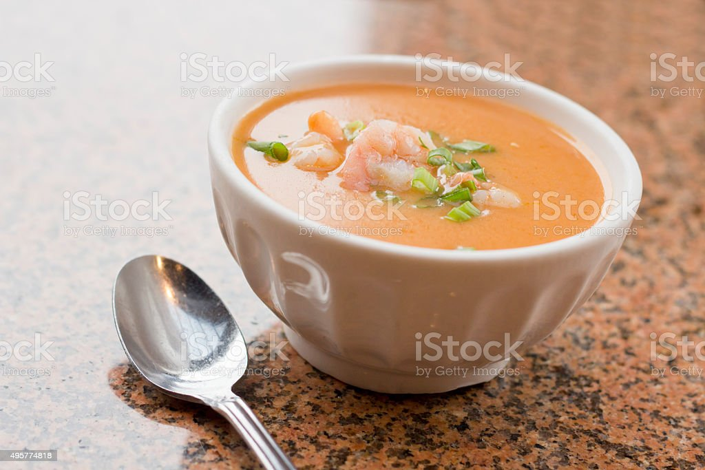 Shrimp Bisque Soup stock photo