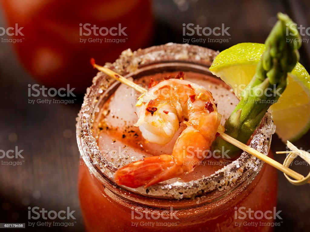 Shrimp Bloody Mary or Caesar Cocktail stock photo