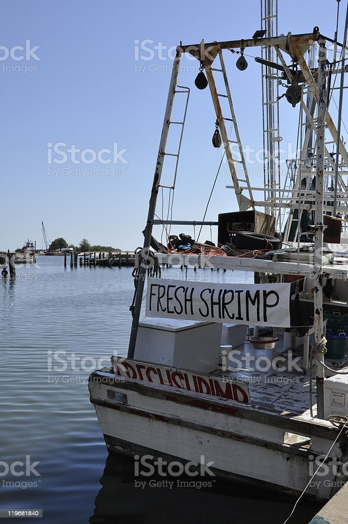 shrimp boat in Biloxi, Mississippi stock photo