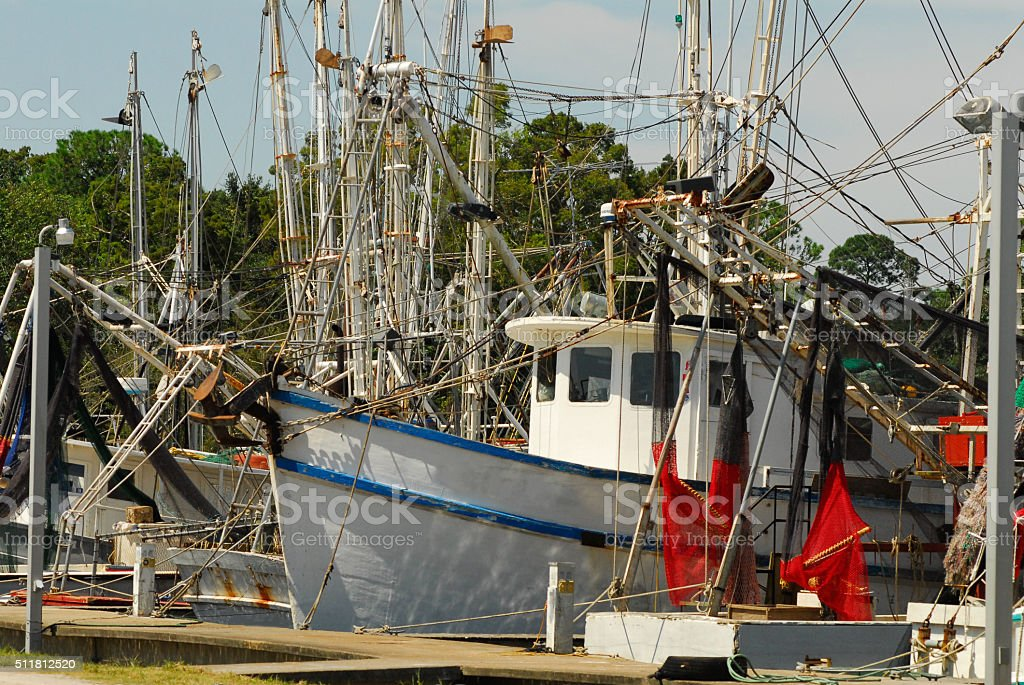 Shrimp Boats at Dock stock photo