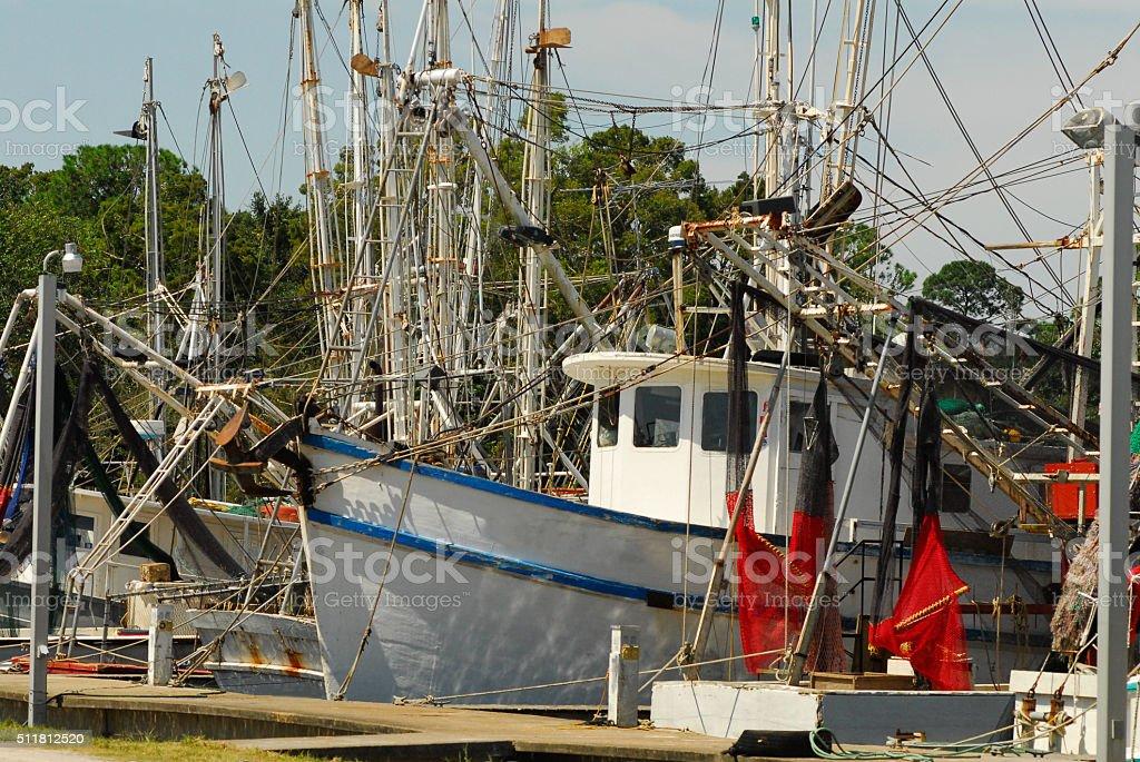 Shrimp Boats at Dock stock photo