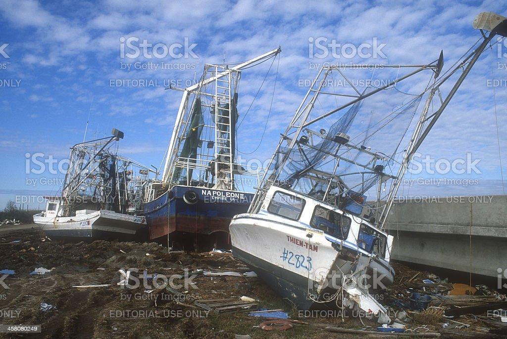 Shrimp Boats Damaged by Hurricane Katrina stock photo