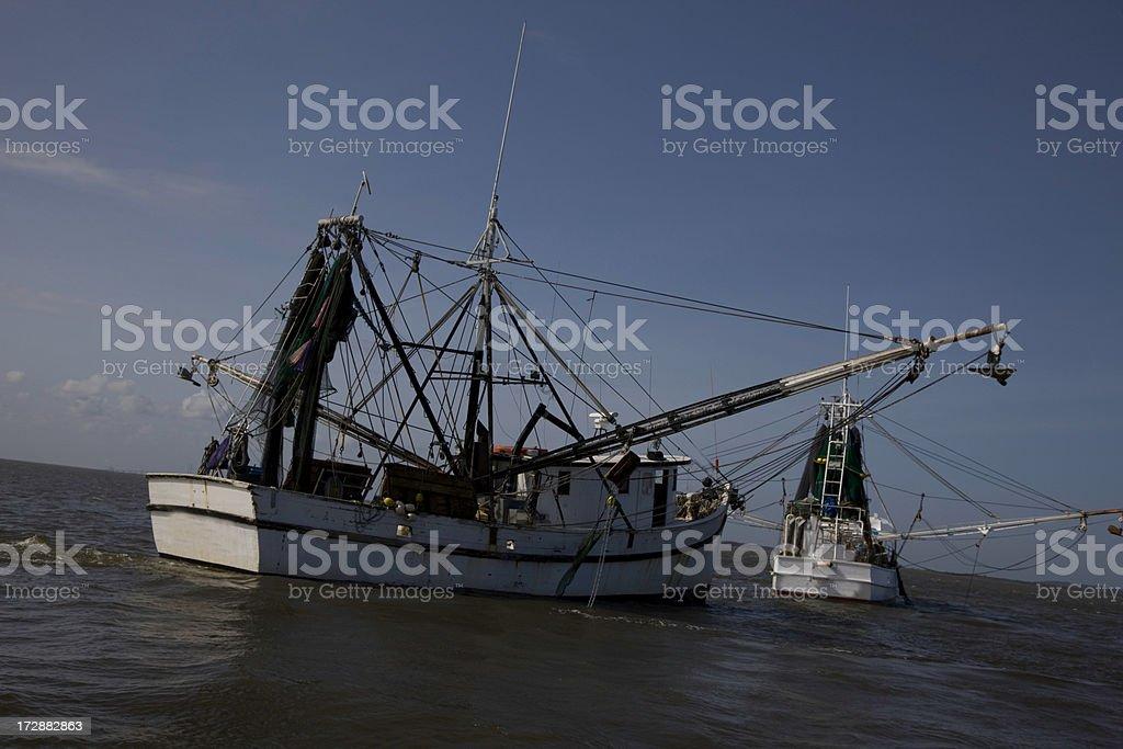 Shrimp Boats off Georgia Coast royalty-free stock photo