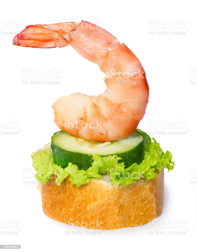 Shrimp canape stock photo