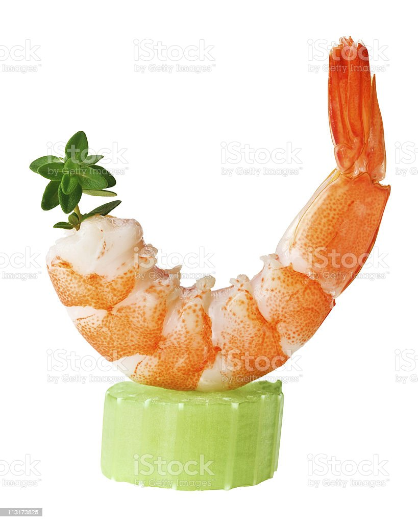Shrimp canape with celery and thyme twig stock photo
