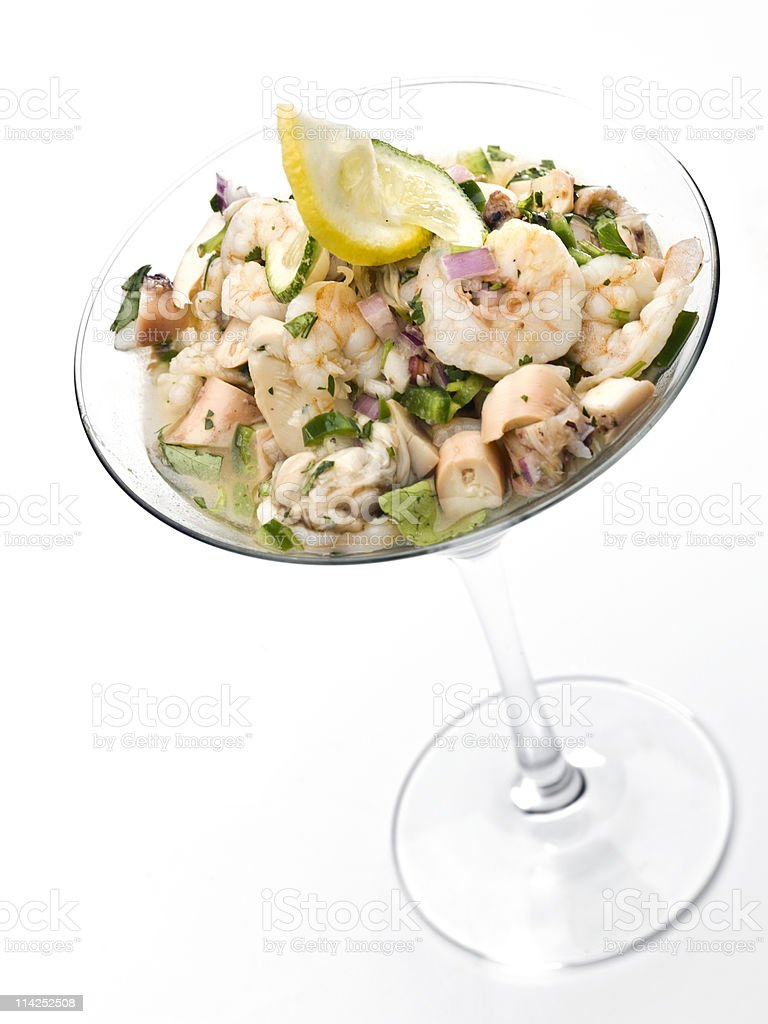 shrimp ceviche is cocktail glass stock photo