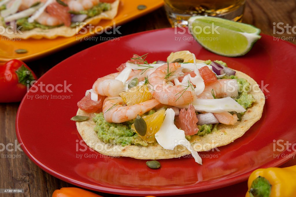 Shrimp Ceviche Tostada stock photo